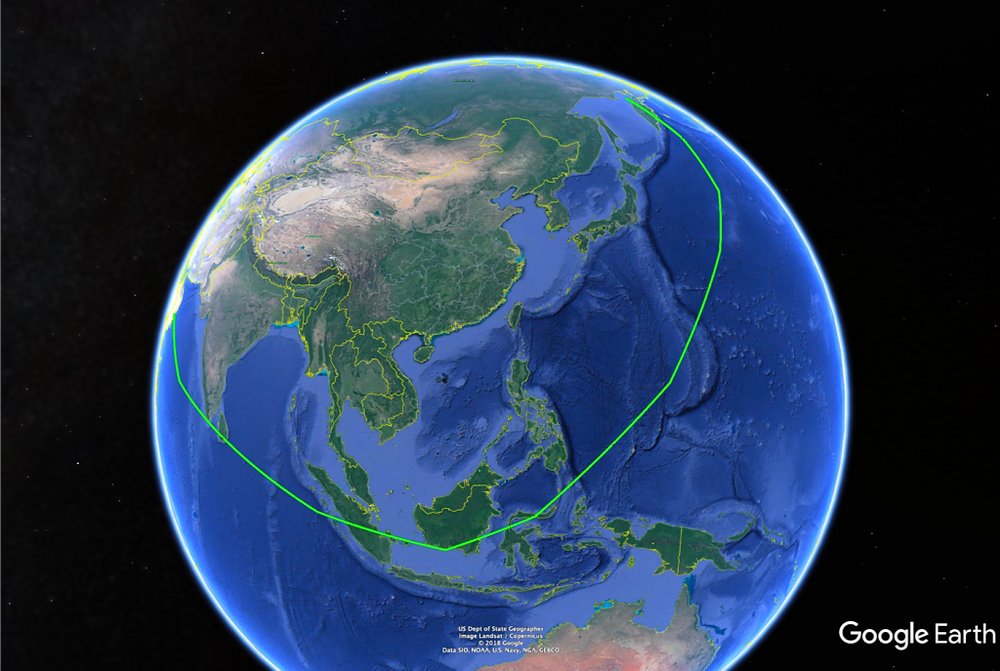The approximate coverage of the JH-XX's 1500 nm combat radius operating from China.