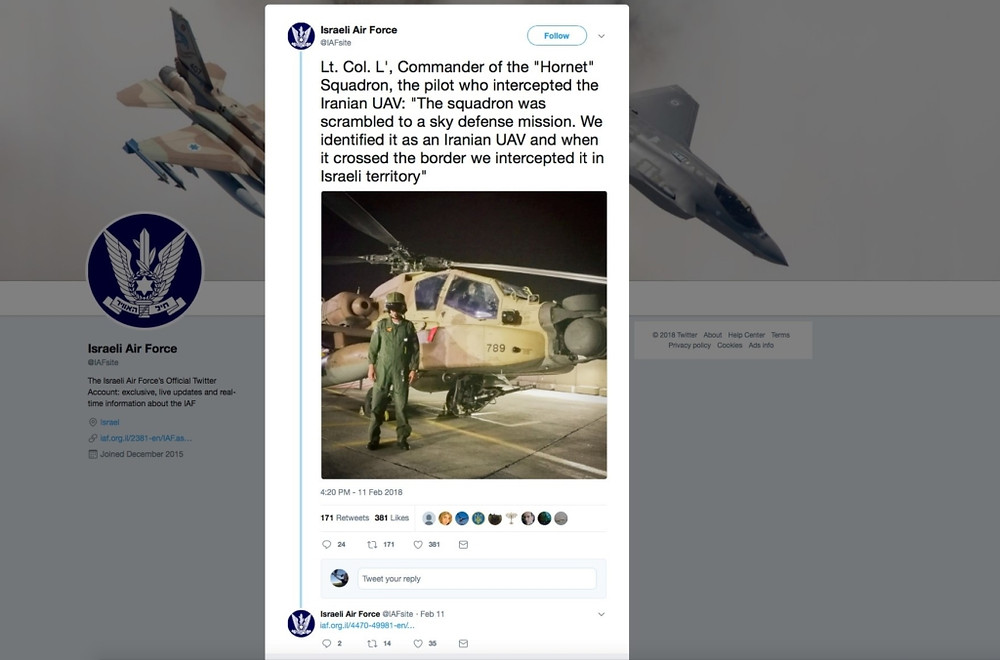 Fig 2. IAF Twitter feed regarding the Saeqeh incursion
