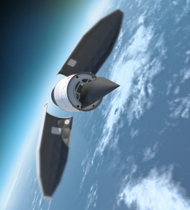 The Falcon HTV-2 (Hypersonic Test Vehicle) on the upper stage of the launch vehicle after jettisoning of the payload fairing [Image Credit: DARPA]