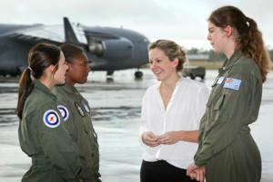 CDF Gender Advisor Julie McKay meets with Air Force Flight Camp students [Image credit: RAAF]