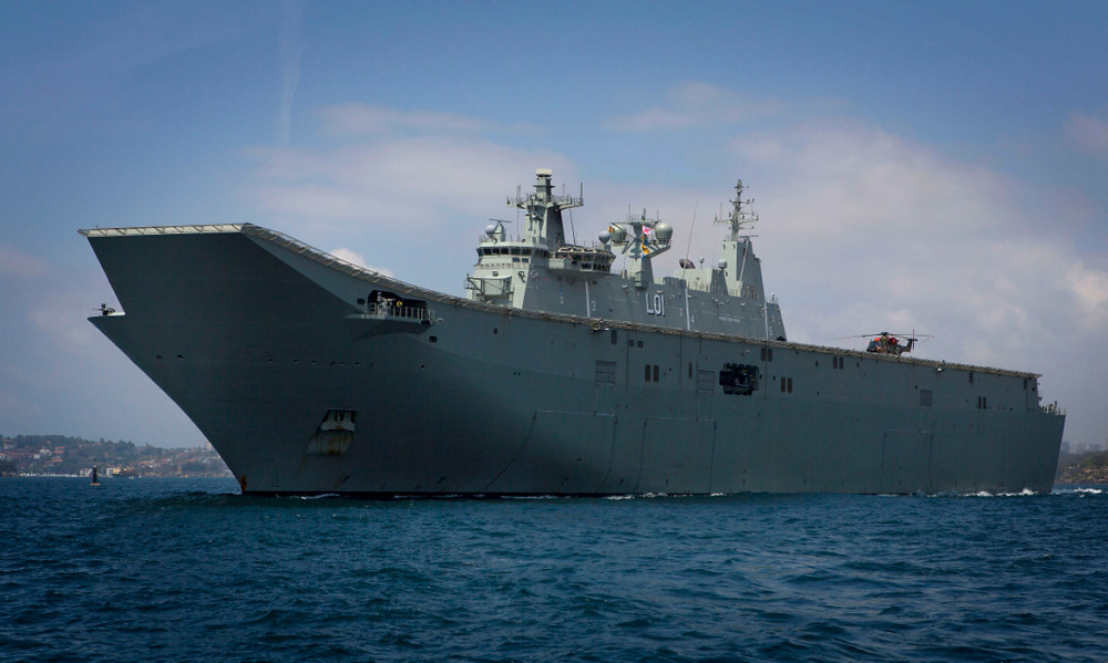 This Canberra Class LHD HMAS Adelaide departing Sydney Harbour in early November 2016 to take part in Exercise OCEAN RAIDER. [Image Credit: Commonwealth of Australia]