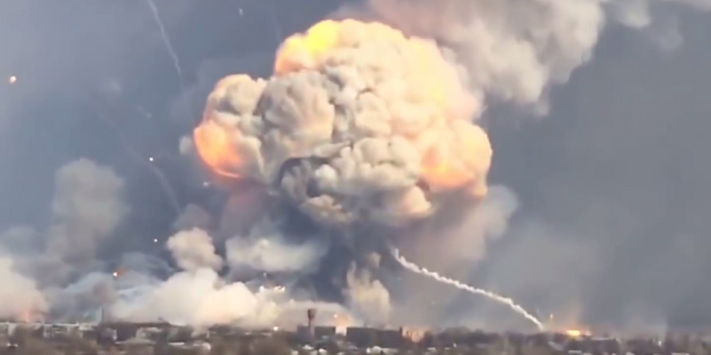 A single grenade-carrying drone caused this explosion. [Image credit: Popular Mechanics]