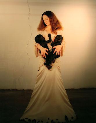Vanessa-Beecroft-White-Madonna-with-Twin