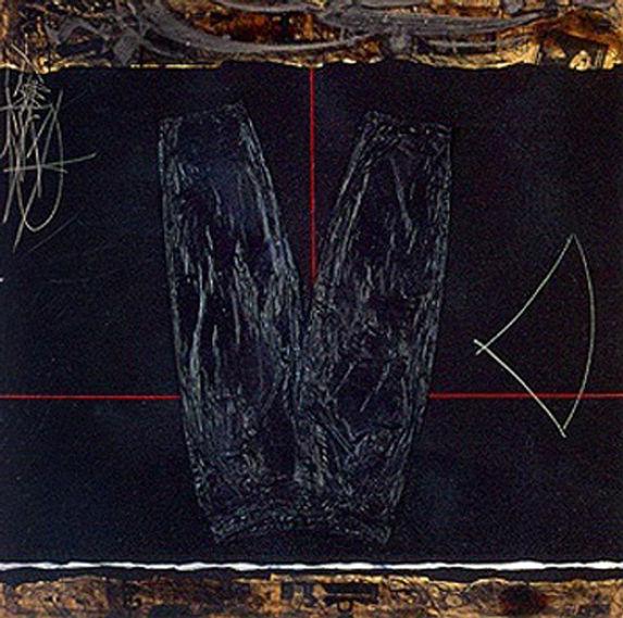 Michel DEGAND Au Retour De Mes Voyages 1995 Oil, paper collage, sand and pigment on canvas 150 cm x 150 cm
