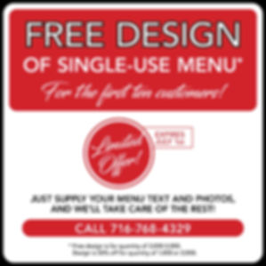 Design of Single Use Menu for store FOR