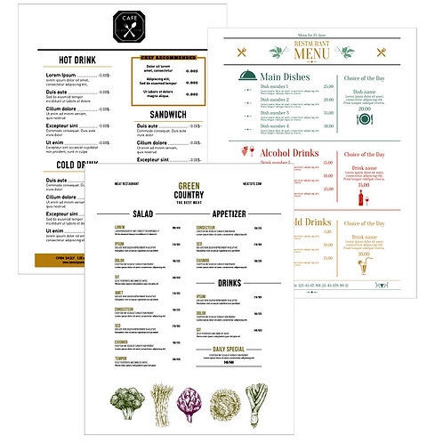11x17 Standard Single-Use Menus