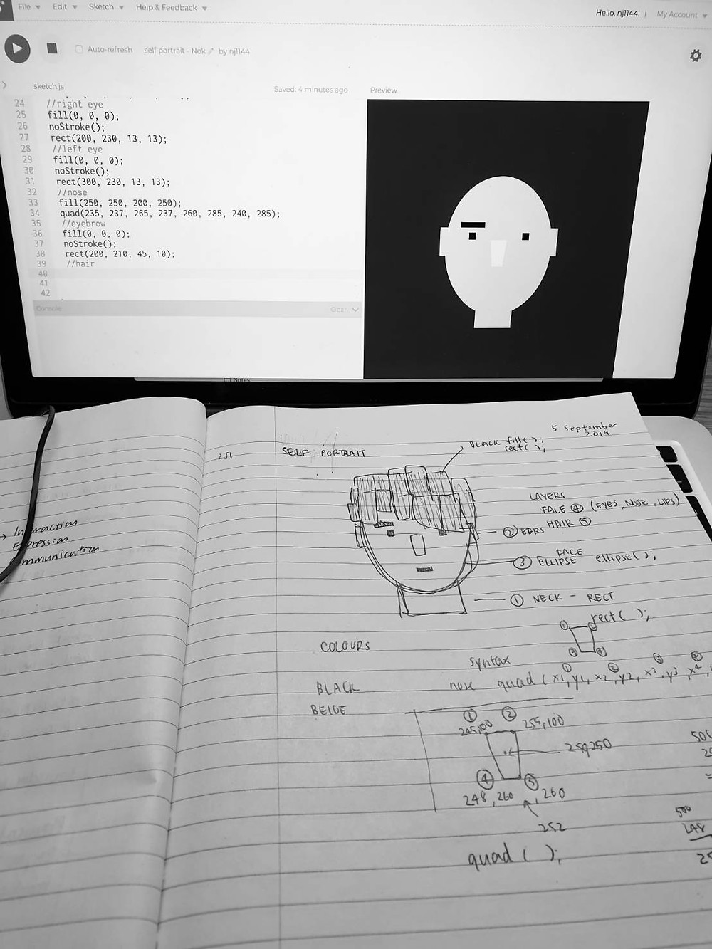 a photo of my self portrait sketch and some notes