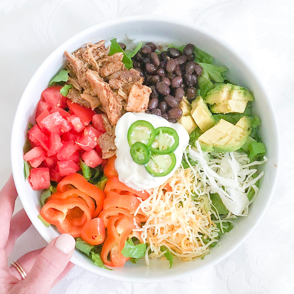 Taco salads are a great healthier alternative for brides looking to lose weight before their wedding. www.ginnyleavitt.com
