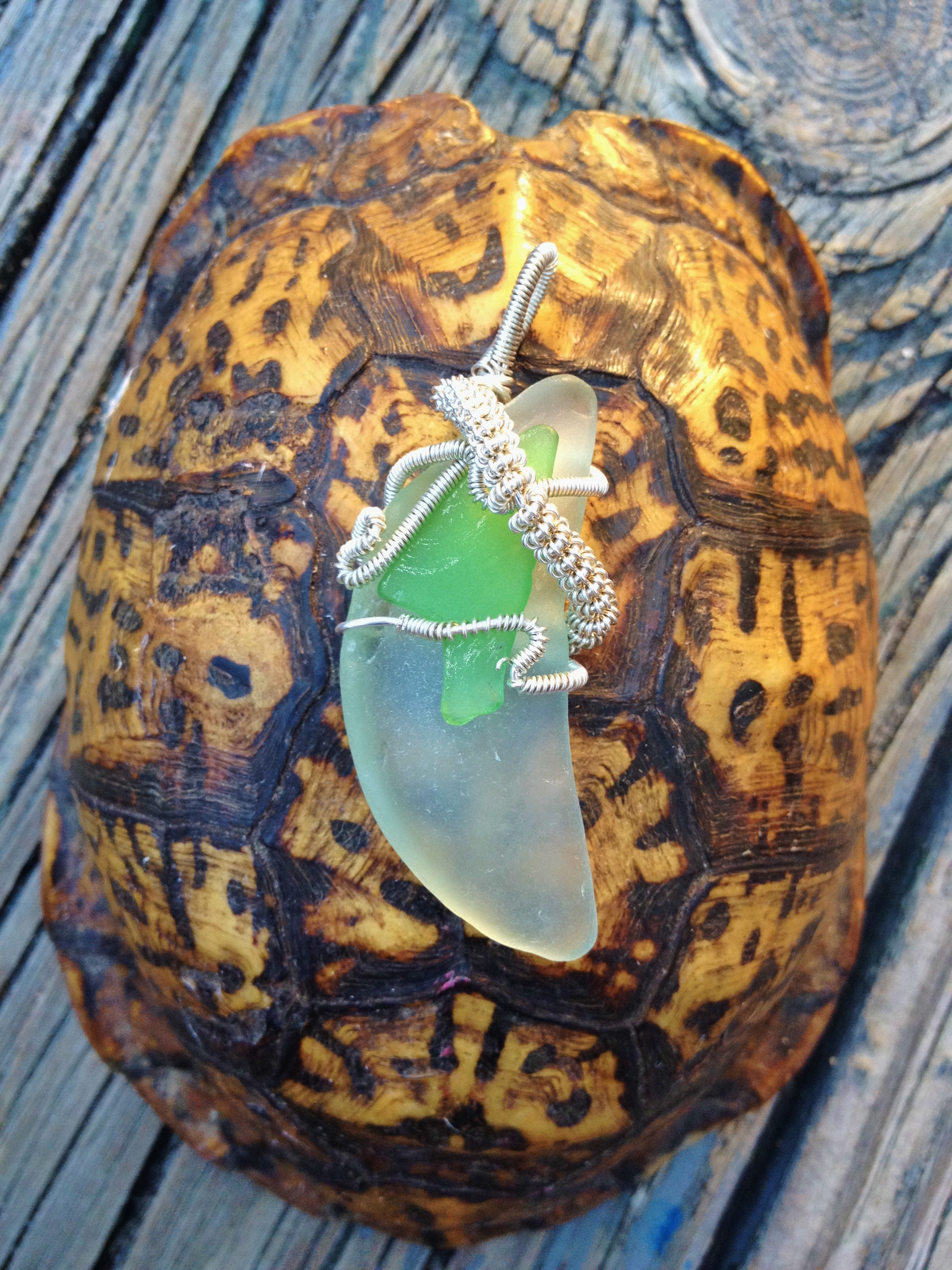 wire-wrapped seaglass pendant
