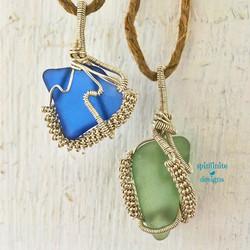 wire-wrapped sea glass pendants