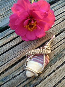 wire-wrapped wampum pendant