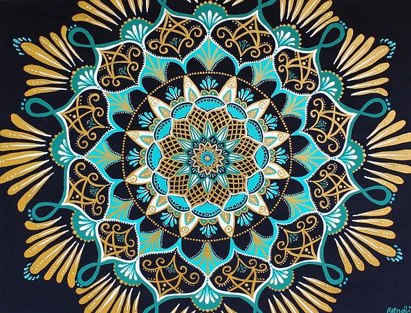 Celestial Splendor - Mandala Painting by Randi Machovec - Spinfinite Designs - Hatteras Art - OBX art - Outer Banks