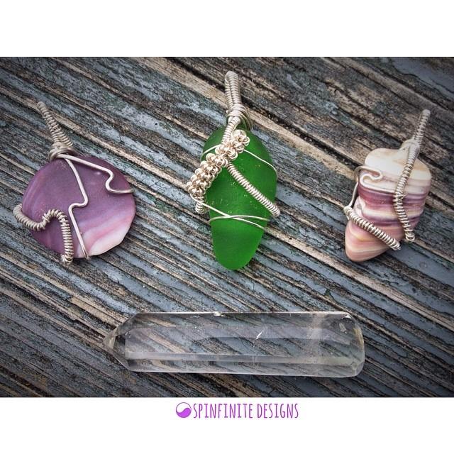 sea glass & wampum shell pendants