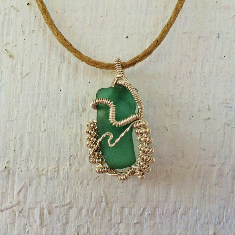 rare aqua blue sea glass pendant