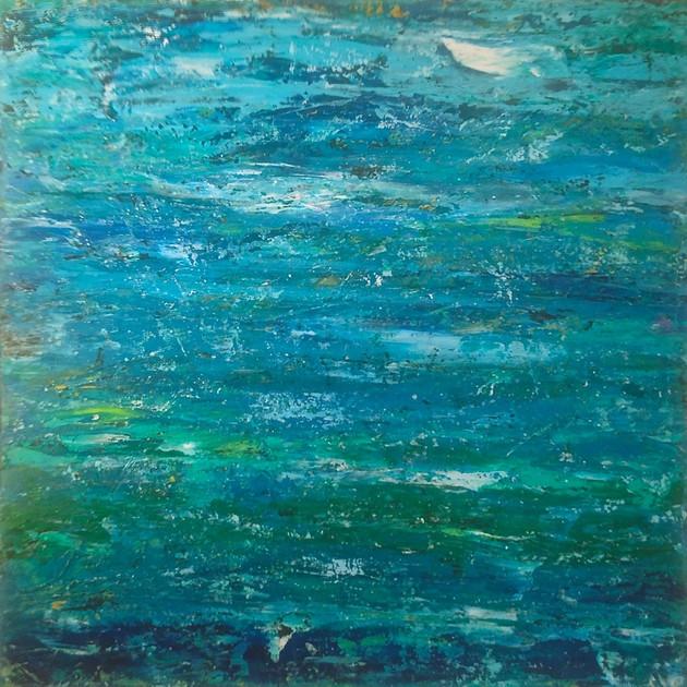 """Blue Wave  36"""" x 36"""" Acrylic/ Oil $1800"""