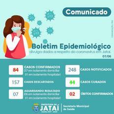 COMUNICADO | Boletim Epidemiológico sobre o coronavírus em Jataí