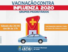 Campanha de vacinação contra a Influenza continua sendo realizada em Jataí através do Drive Thru