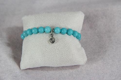 Bracelet Jade blanc teinté bleu