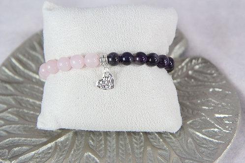 Bracelet Quart rose et améthyste