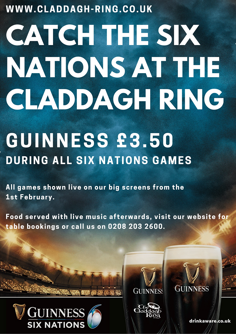 CATCH THE SIX NATIONS AT THE CLADDAGH RI