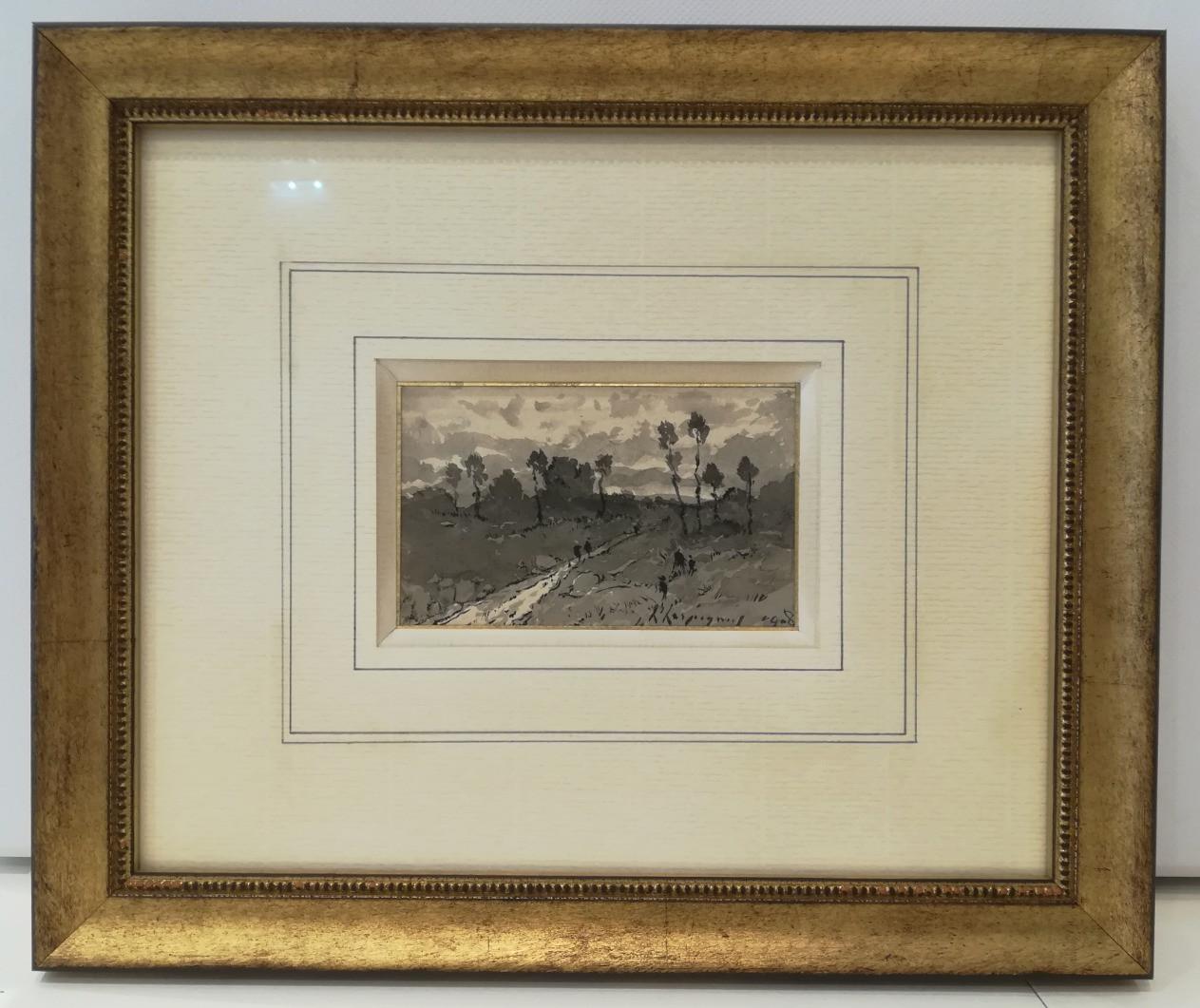Dessin lavis d'encre de Henry Harpignies XIX eme siècle