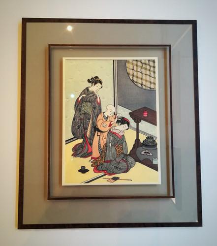 Estampe japonaise scène d'intérieur japonais