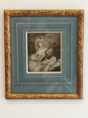 gravure ancienne Femme au luth