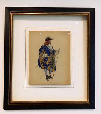 Aquarelle costume d'un Ambassadeur sous Louis XIV Dessin préparatoire pour costume de théatre