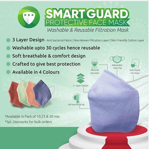 Smart Guard Protective Face Mask pack of 4