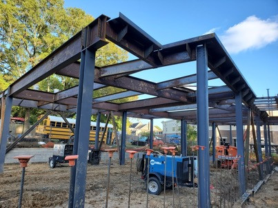 Steel framing blue sky