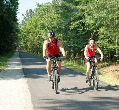 Bicyclists on path