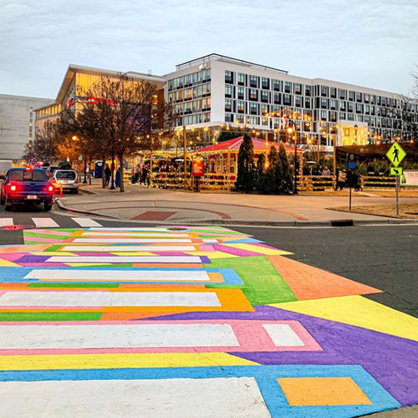 Colorful crosswalk in Durham