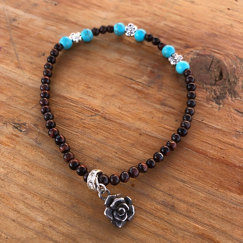 Turquoise and Seed Bead Gemstone Anklet with Roses