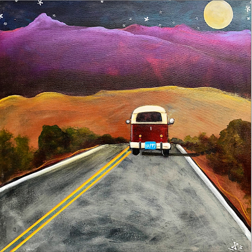 "Greeting Card of ""Moonrise Purple Mountain Road"""