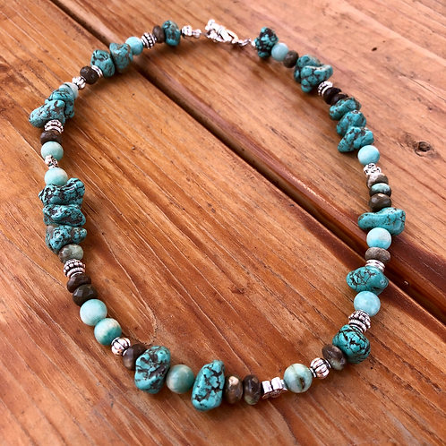Turquoise Chunk Necklace with Freshwater Pearl - 17""