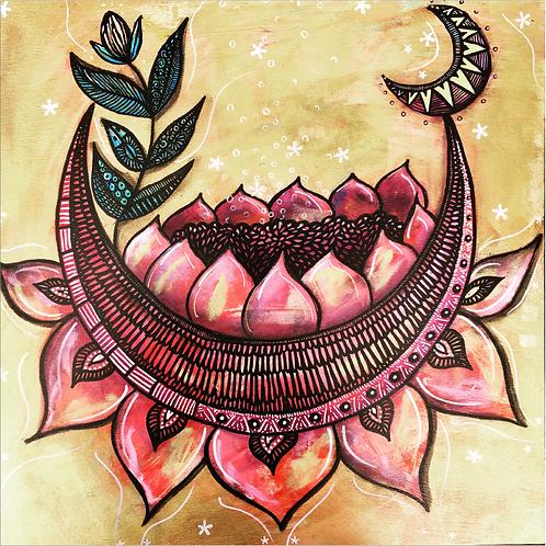 "Greeting Card of ""Lotus Moon Blossom"""