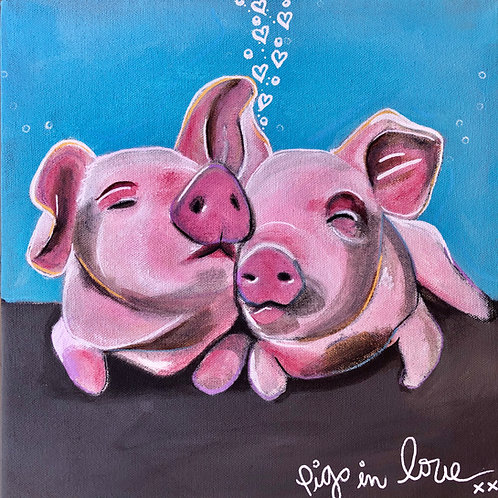 """Greeting Card of """"Pigs in Love"""""""