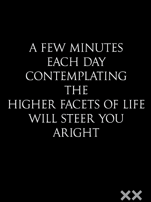 A Few Minutes Each Day Contemplating the Higher Facets of Life Will Steer You...