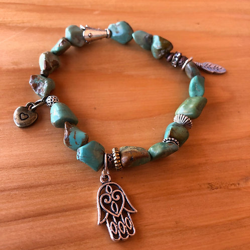 Boho Turquoise Chip Bracelet with Hamsa, Heart, and Feather Charms