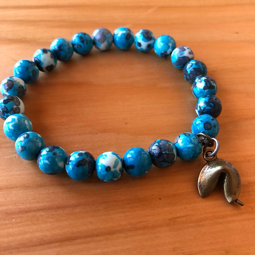 Blue Lace Agate Gemstone Bracelet with Fortune Cookie Charm