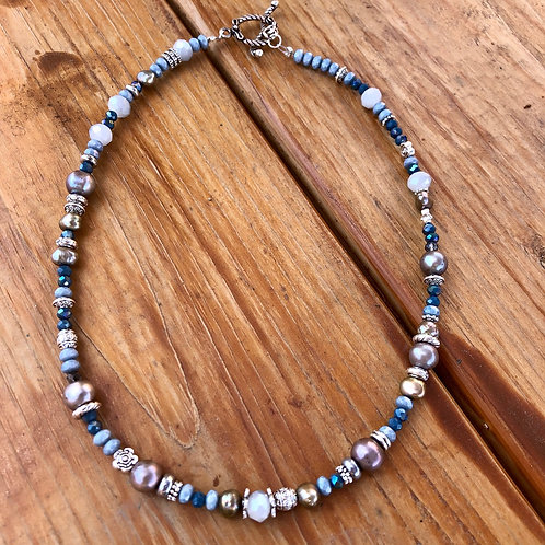 """Beads in Blues Necklace - 17"""""""
