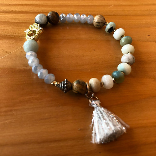 Boho Tassel Gemstone Bracelet with Hamsa