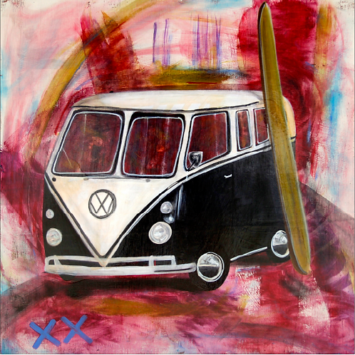 "Greeting Card of ""Black VW Bus with Surfboard"""