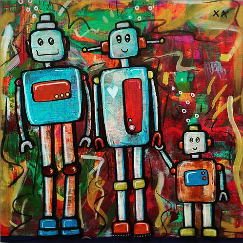 "Greeting Card of ""Robot Couple with Baby Robot"""