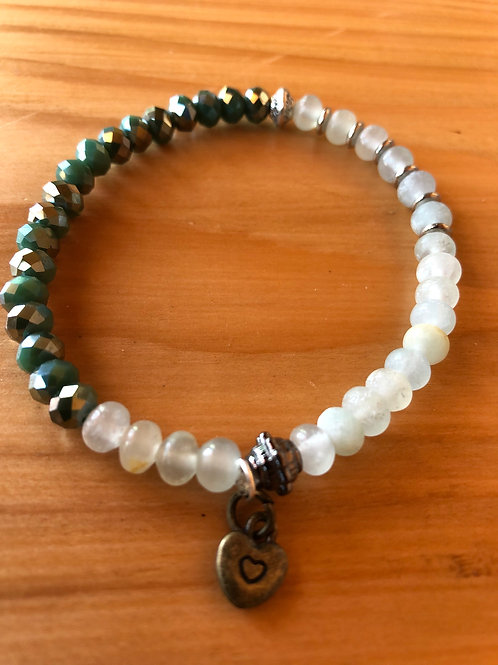 Yin Yang Mixed Stones and Crystals Bracelet with Small Heart Charm