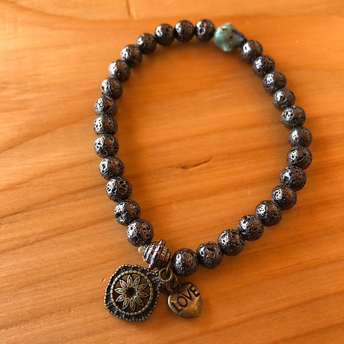 Coated Lava Rock Bracelet with Love and Stuff