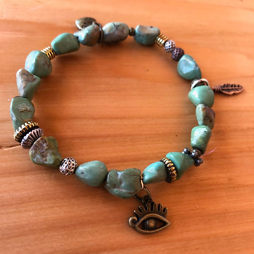 Boho Turquoise Chip Bracelet with Protective Eye, Heart, and Feather Charm