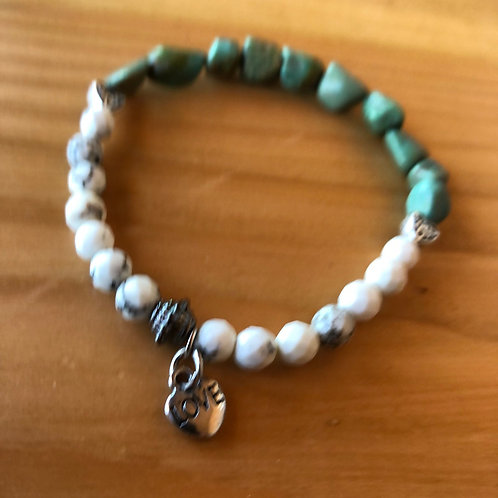 Turquoise and Faceted Gemstone Bracelet with Love Charm
