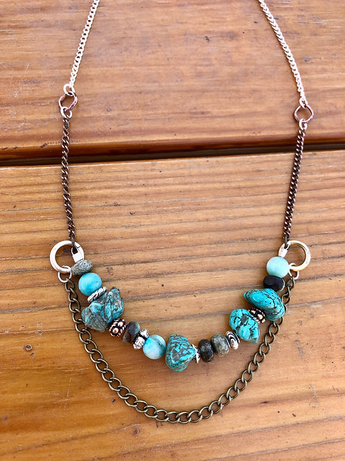 Boho Style Mixed Metals Turquoise Chunk with Underchain Necklace - 17""