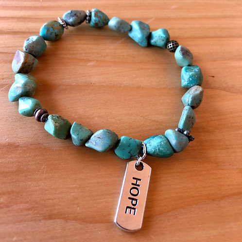 Turquoise Chip Bracelet with Hope Charm